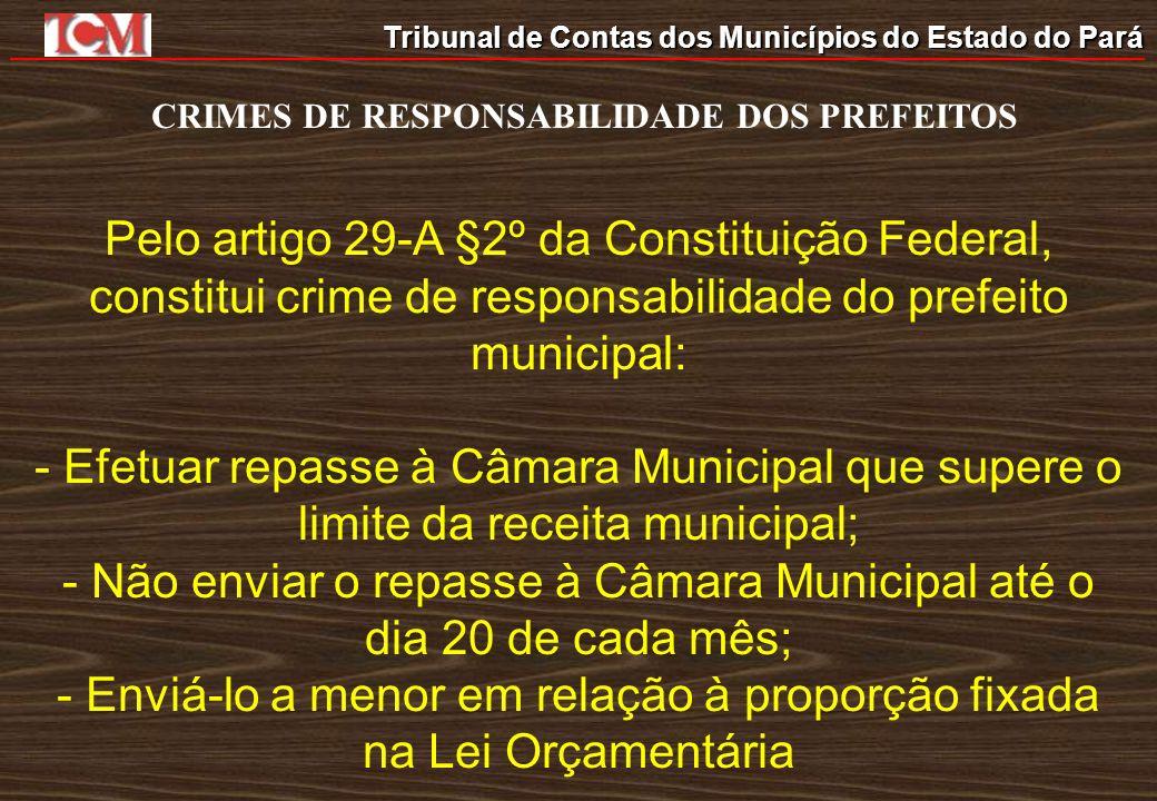 Tribunal de Contas dos Municípios do Estado do Pará CRIMES DE RESPONSABILIDADE DOS PREFEITOS Pelo artigo 29-A §2º da Constituição Federal, constitui c