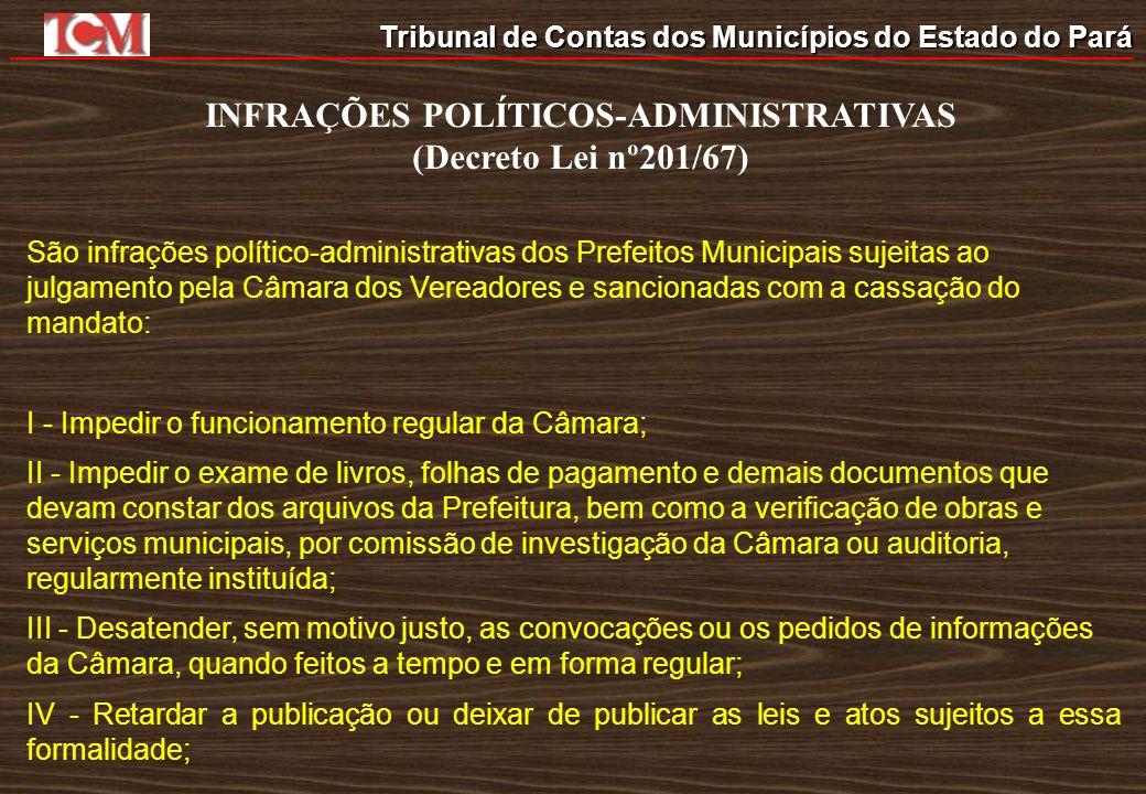 Tribunal de Contas dos Municípios do Estado do Pará INFRAÇÕES POLÍTICOS-ADMINISTRATIVAS (Decreto Lei nº201/67) São infrações político-administrativas