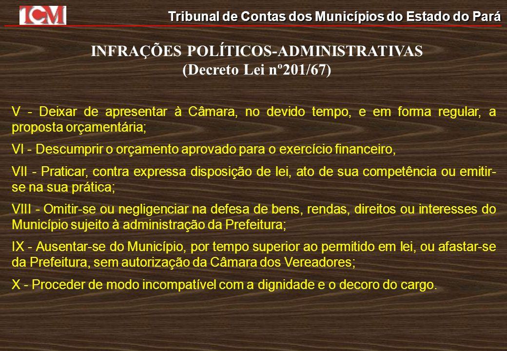 Tribunal de Contas dos Municípios do Estado do Pará INFRAÇÕES POLÍTICOS-ADMINISTRATIVAS (Decreto Lei nº201/67) V - Deixar de apresentar à Câmara, no d