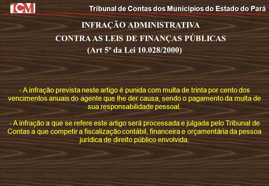 Tribunal de Contas dos Municípios do Estado do Pará INFRAÇÃO ADMINISTRATIVA CONTRA AS LEIS DE FINANÇAS PÚBLICAS (Art 5º da Lei 10.028/2000) - A infraç
