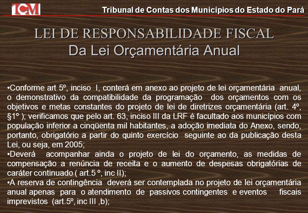 Tribunal de Contas dos Municípios do Estado do Pará LEI DE RESPONSABILIDADE FISCAL Da Lei Orçamentária Anual Conforme art 5º, inciso I, conterá em ane