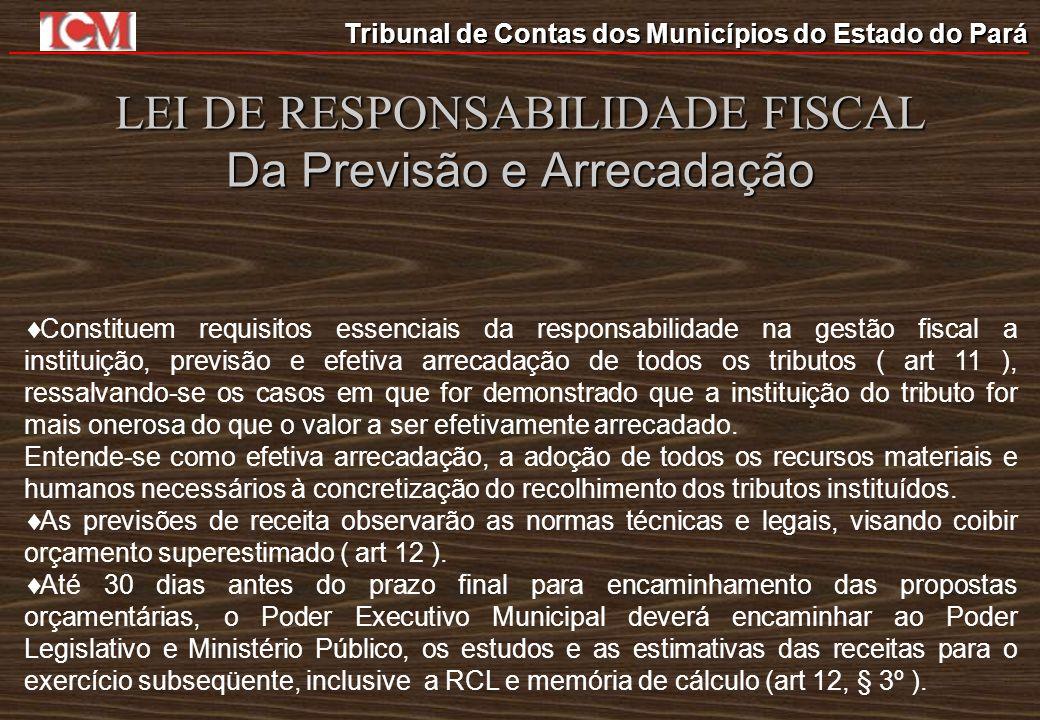 Tribunal de Contas dos Municípios do Estado do Pará LEI DE RESPONSABILIDADE FISCAL Da Previsão e Arrecadação Constituem requisitos essenciais da respo