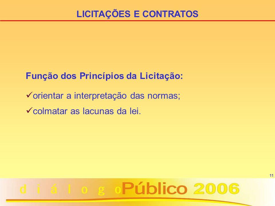 11 LICITAÇÕES E CONTRATOS Função dos Princípios da Licitação: orientar a interpretação das normas; colmatar as lacunas da lei.