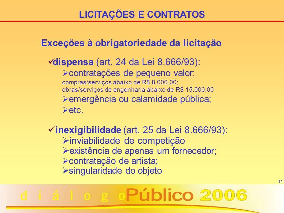 14 Exceções à obrigatoriedade da licitação LICITAÇÕES E CONTRATOS dispensa (art. 24 da Lei 8.666/93): contratações de pequeno valor: compras/serviços