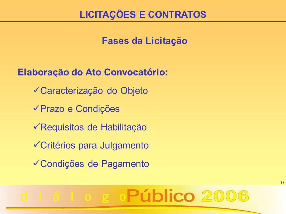 17 Elaboração do Ato Convocatório: Caracterização do Objeto Prazo e Condições Requisitos de Habilitação Critérios para Julgamento Condições de Pagamento LICITAÇÕES E CONTRATOS Fases da Licitação