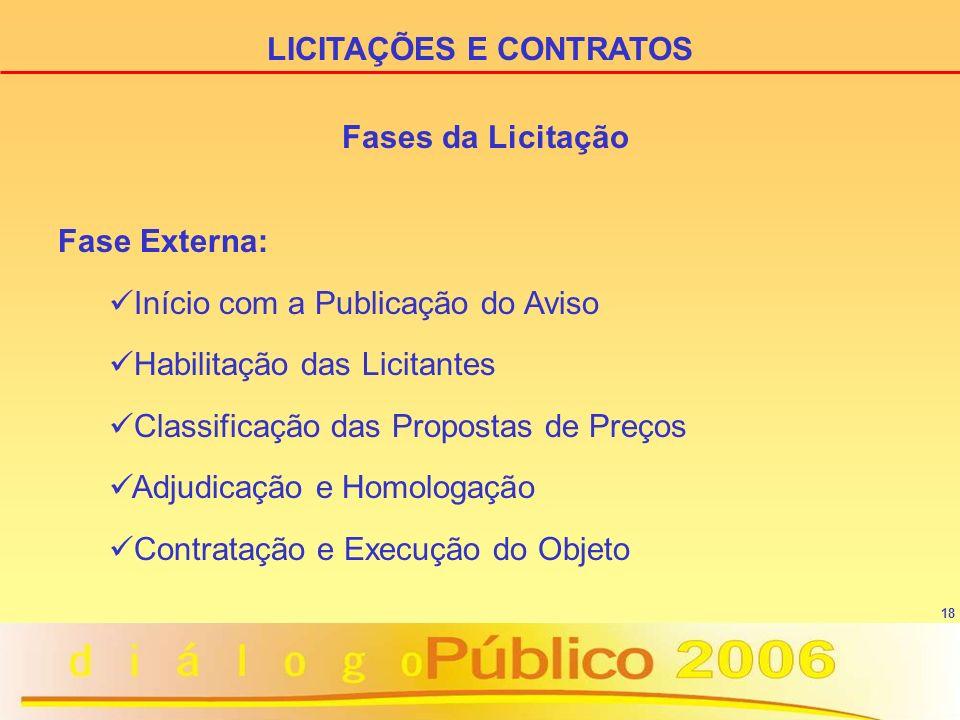 18 Fase Externa: Início com a Publicação do Aviso Habilitação das Licitantes Classificação das Propostas de Preços Adjudicação e Homologação Contratação e Execução do Objeto LICITAÇÕES E CONTRATOS Fases da Licitação