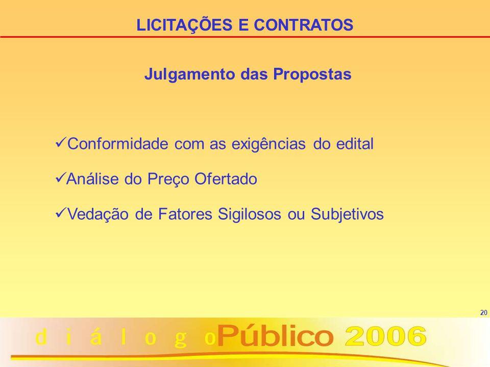 20 Julgamento das Propostas Conformidade com as exigências do edital Análise do Preço Ofertado Vedação de Fatores Sigilosos ou Subjetivos LICITAÇÕES E CONTRATOS