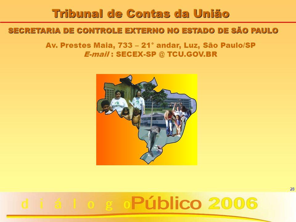 28 SECRETARIA DE CONTROLE EXTERNO NO ESTADO DE SÃO PAULO Tribunal de Contas da União Av. Prestes Maia, 733 – 21° andar, Luz, São Paulo/SP E-mail : SEC