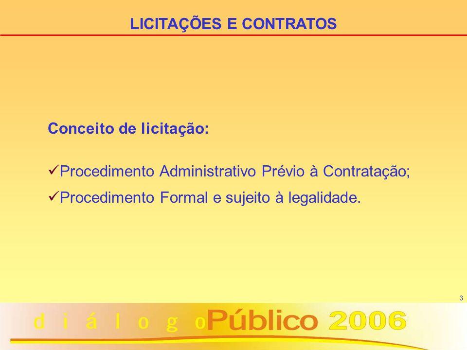 3 LICITAÇÕES E CONTRATOS Conceito de licitação: Procedimento Administrativo Prévio à Contratação; Procedimento Formal e sujeito à legalidade.