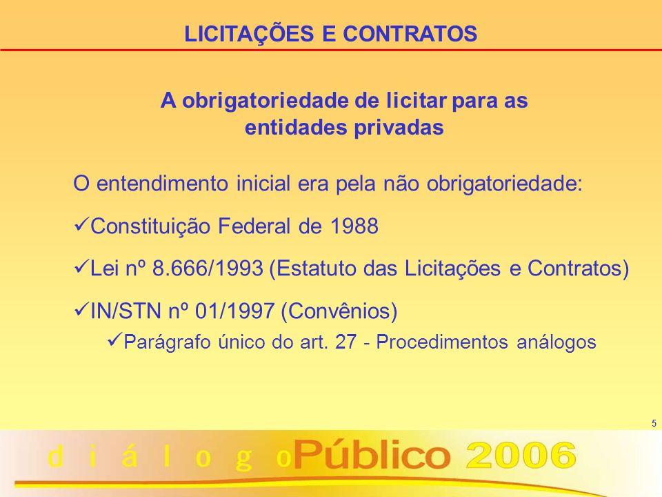 5 O entendimento inicial era pela não obrigatoriedade: Constituição Federal de 1988 Lei nº 8.666/1993 (Estatuto das Licitações e Contratos) IN/STN nº
