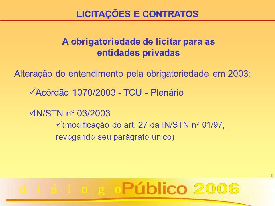 6 Alteração do entendimento pela obrigatoriedade em 2003: Acórdão 1070/2003 - TCU - Plenário IN/STN nº 03/2003 (modificação do art. 27 da IN/STN n° 01