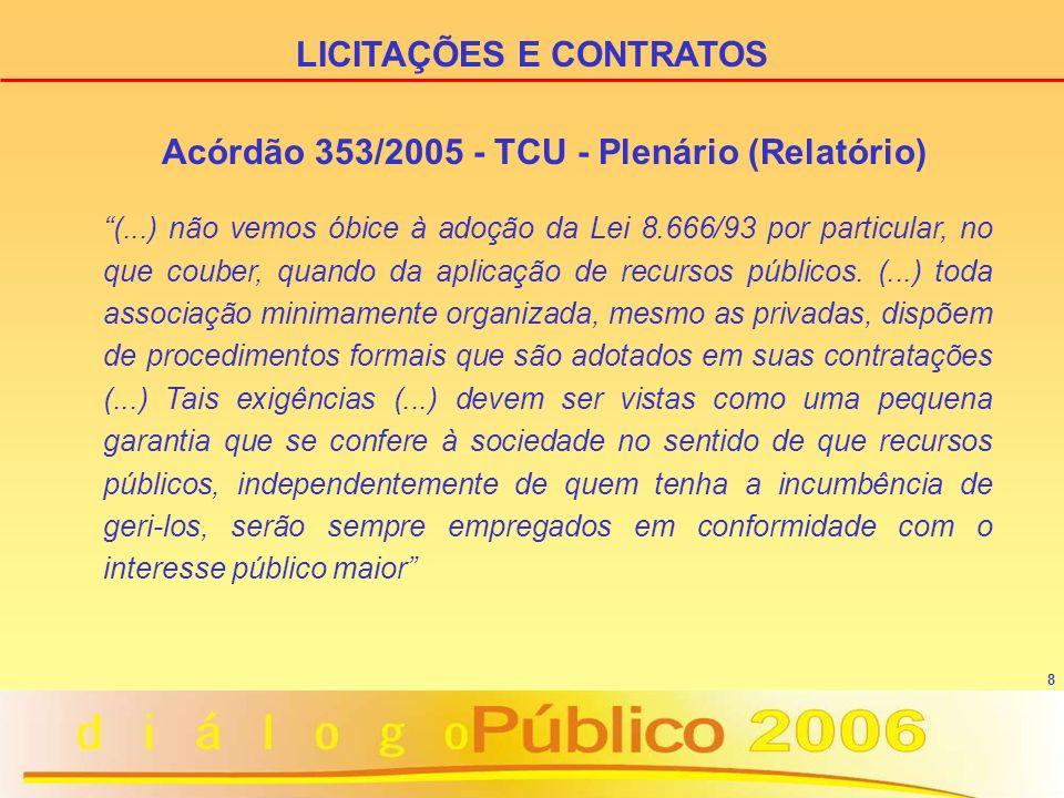 8 Acórdão 353/2005 - TCU - Plenário (Relatório) (...) não vemos óbice à adoção da Lei 8.666/93 por particular, no que couber, quando da aplicação de recursos públicos.