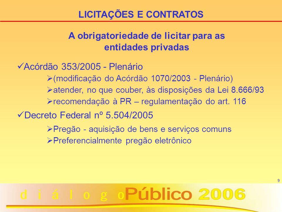 9 Acórdão 353/2005 - Plenário (modificação do Acórdão 1070/2003 - Plenário) atender, no que couber, às disposições da Lei 8.666/93 recomendação à PR – regulamentação do art.