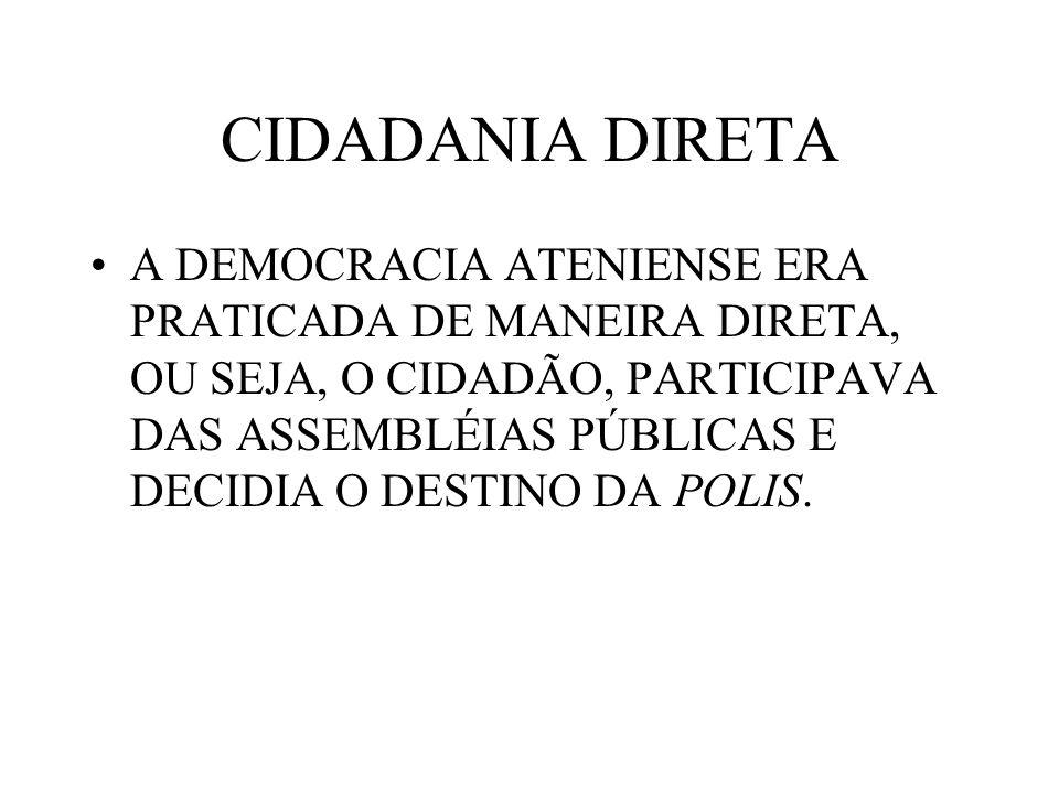 CIDADANIA DIRETA A DEMOCRACIA ATENIENSE ERA PRATICADA DE MANEIRA DIRETA, OU SEJA, O CIDADÃO, PARTICIPAVA DAS ASSEMBLÉIAS PÚBLICAS E DECIDIA O DESTINO DA POLIS.