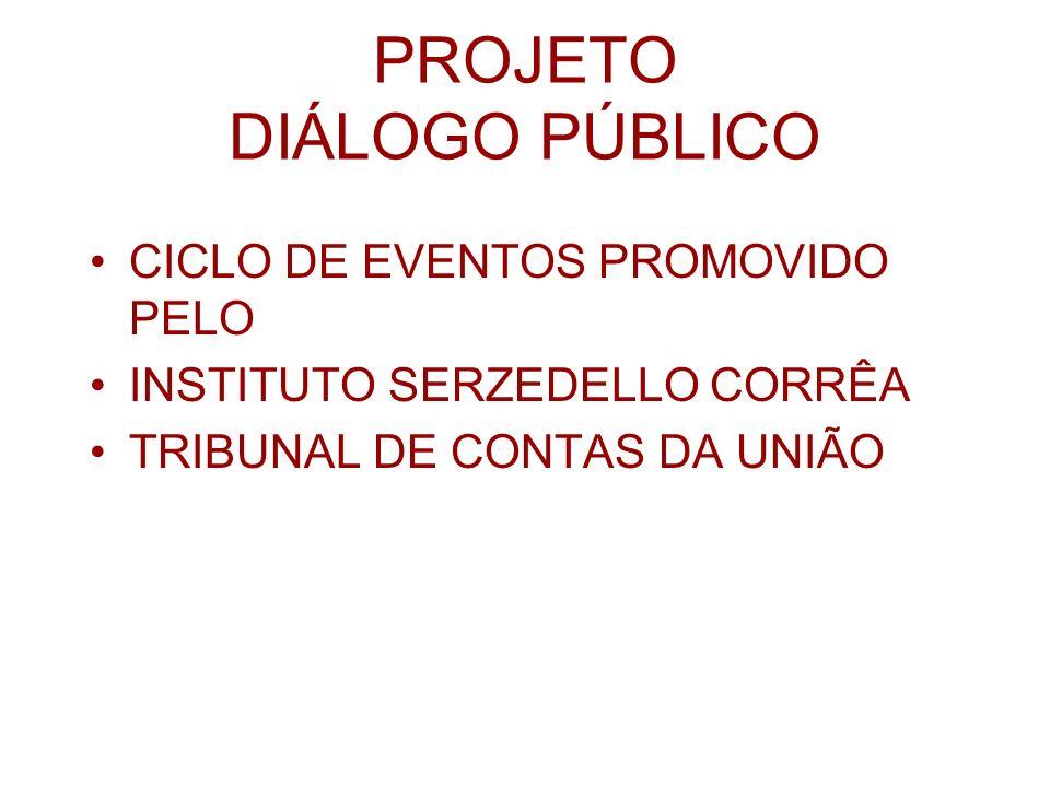 PROJETO DIÁLOGO PÚBLICO CICLO DE EVENTOS PROMOVIDO PELO INSTITUTO SERZEDELLO CORRÊA TRIBUNAL DE CONTAS DA UNIÃO