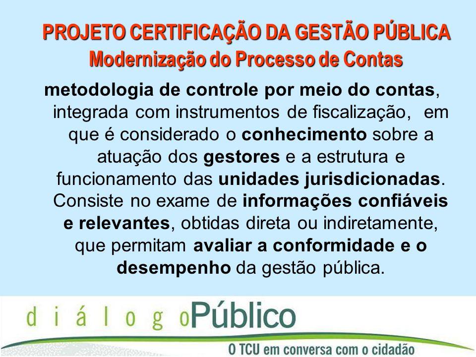 PROJETO CERTIFICAÇÃO DA GESTÃO PÚBLICA Modernização do Processo de Contas metodologia de controle por meio do contas, integrada com instrumentos de fi