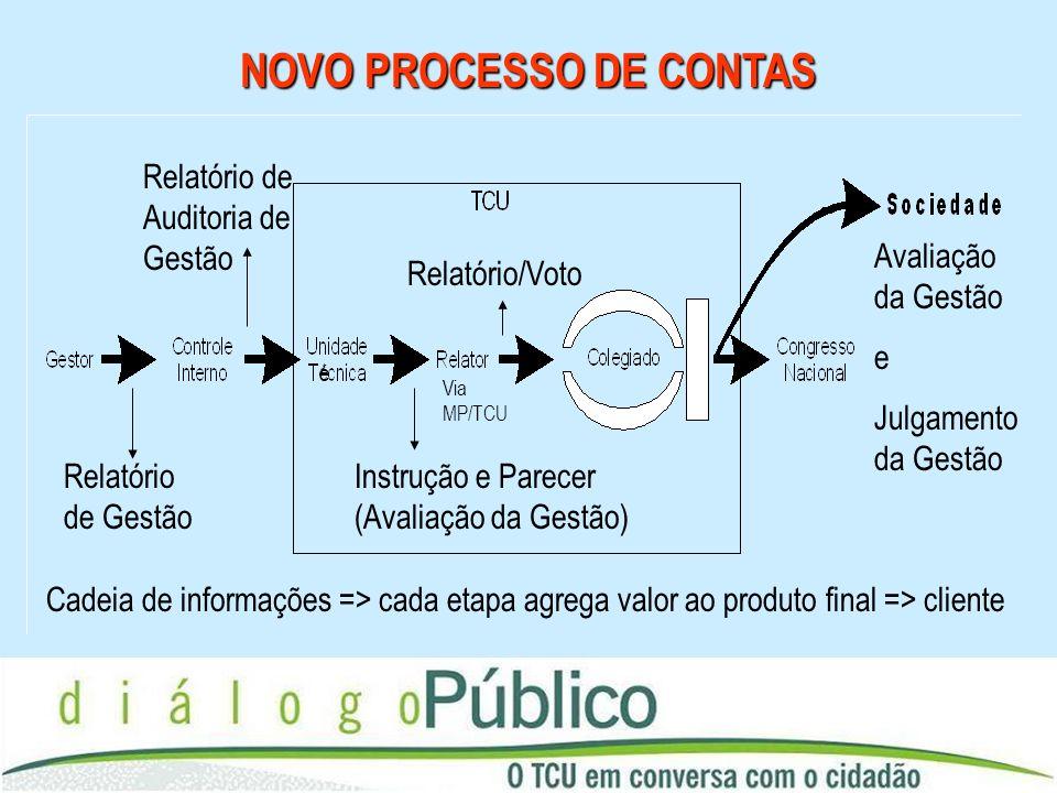 NOVO PROCESSO DE CONTAS Cadeia de informações => cada etapa agrega valor ao produto final => cliente Relatório de Gestão Relatório de Auditoria de Ges