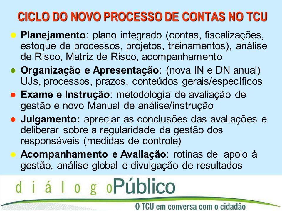 CICLO DO NOVO PROCESSO DE CONTAS NO TCU Planejamento: plano integrado (contas, fiscalizações, estoque de processos, projetos, treinamentos), análise d