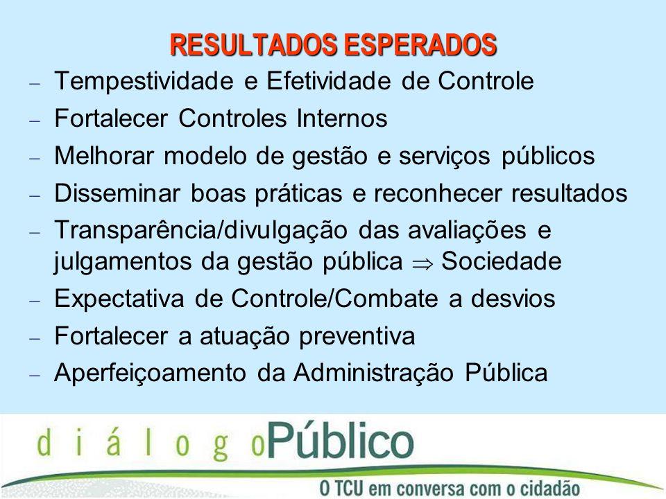 RESULTADOS ESPERADOS Tempestividade e Efetividade de Controle Fortalecer Controles Internos Melhorar modelo de gestão e serviços públicos Disseminar b