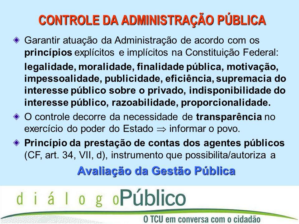 CONTROLE DA ADMINISTRAÇÃO PÚBLICA Garantir atuação da Administração de acordo com os princípios explícitos e implícitos na Constituição Federal: legal