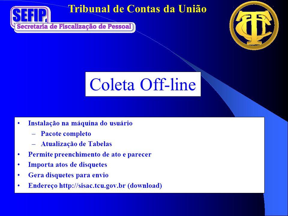 Tribunal de Contas da União Coleta Off-line Instalação na máquina do usuário –Pacote completo –Atualização de Tabelas Permite preenchimento de ato e p
