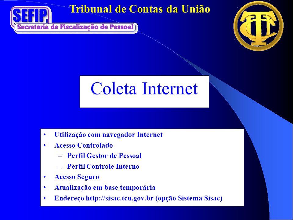 Coleta Internet Utilização com navegador Internet Acesso Controlado –Perfil Gestor de Pessoal –Perfil Controle Interno Acesso Seguro Atualização em ba