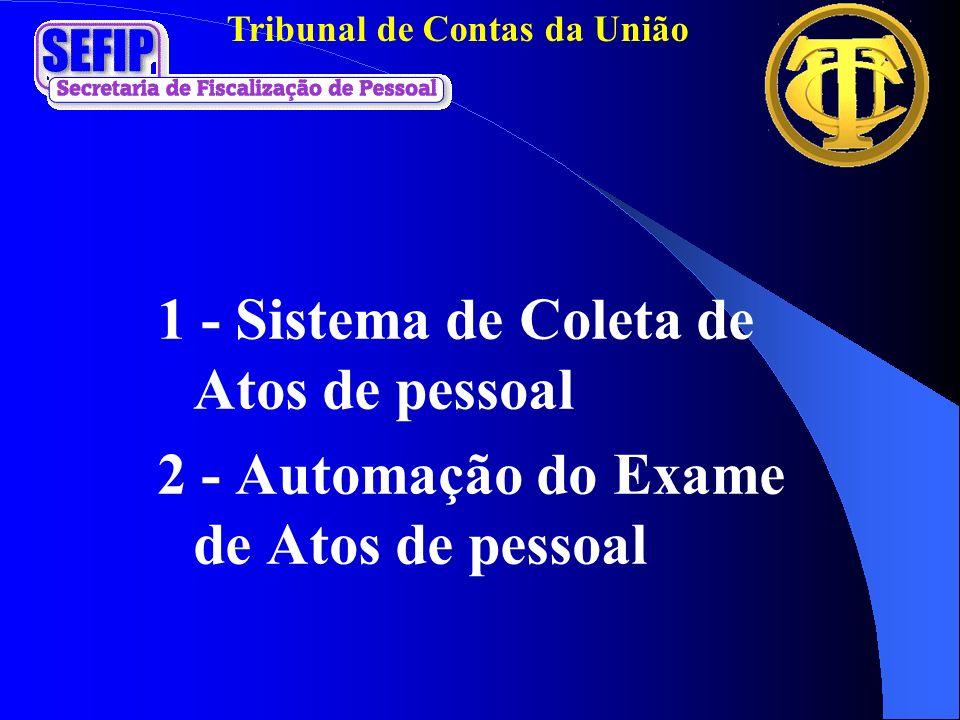Tribunal de Contas da União 1 - Sistema de Coleta de Atos de pessoal 2 - Automação do Exame de Atos de pessoal