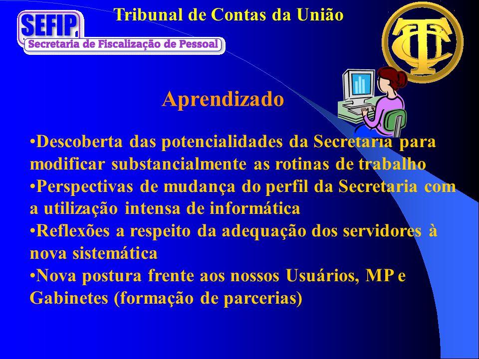 Tribunal de Contas da União Aprendizado Descoberta das potencialidades da Secretaria para modificar substancialmente as rotinas de trabalho Perspectiv