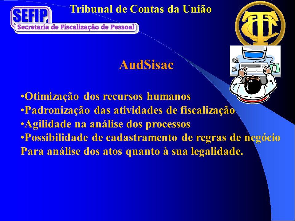 Tribunal de Contas da União AudSisac Otimização dos recursos humanos Padronização das atividades de fiscalização Agilidade na análise dos processos Po