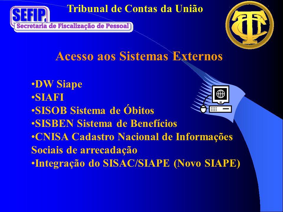 Tribunal de Contas da União DW Siape SIAFI SISOB Sistema de Óbitos SISBEN Sistema de Benefícios CNISA Cadastro Nacional de Informações Sociais de arre