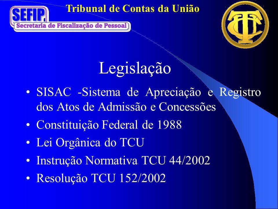 Tribunal de Contas da União Legislação SISAC -Sistema de Apreciação e Registro dos Atos de Admissão e Concessões Constituição Federal de 1988 Lei Orgâ