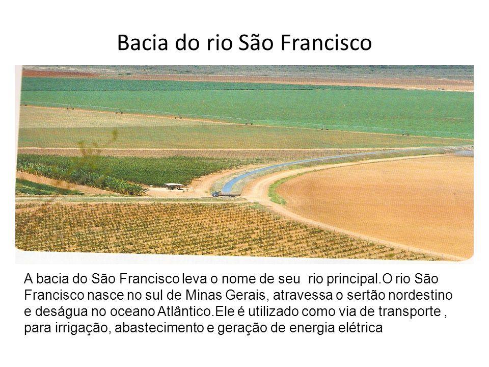 Bacia do rio São Francisco A bacia do São Francisco leva o nome de seu rio principal.O rio São Francisco nasce no sul de Minas Gerais, atravessa o ser