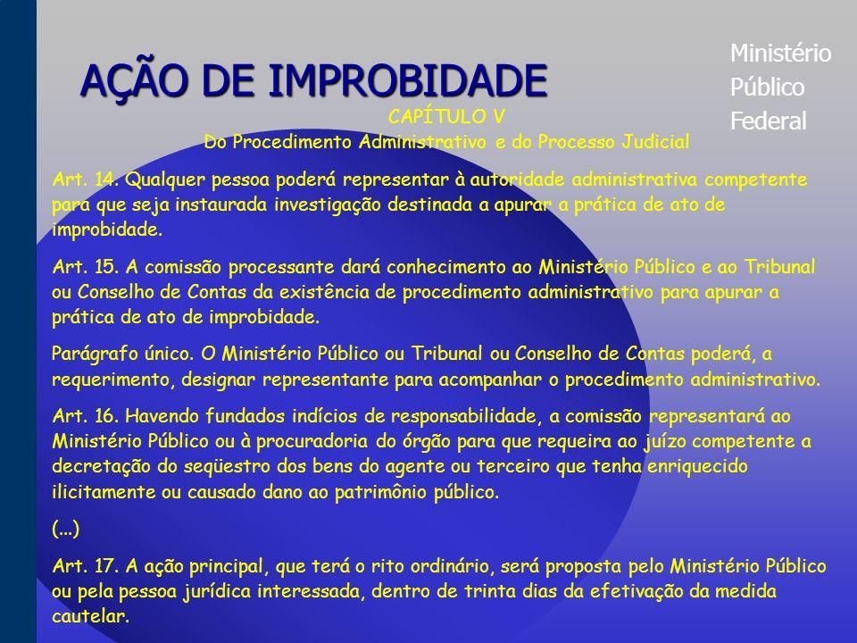Ministério Público Federal AÇÃO DE IMPROBIDADE Seção III Dos Atos de Improbidade Administrativa que Atentam Contra os Princípios da Administração Pública Art.