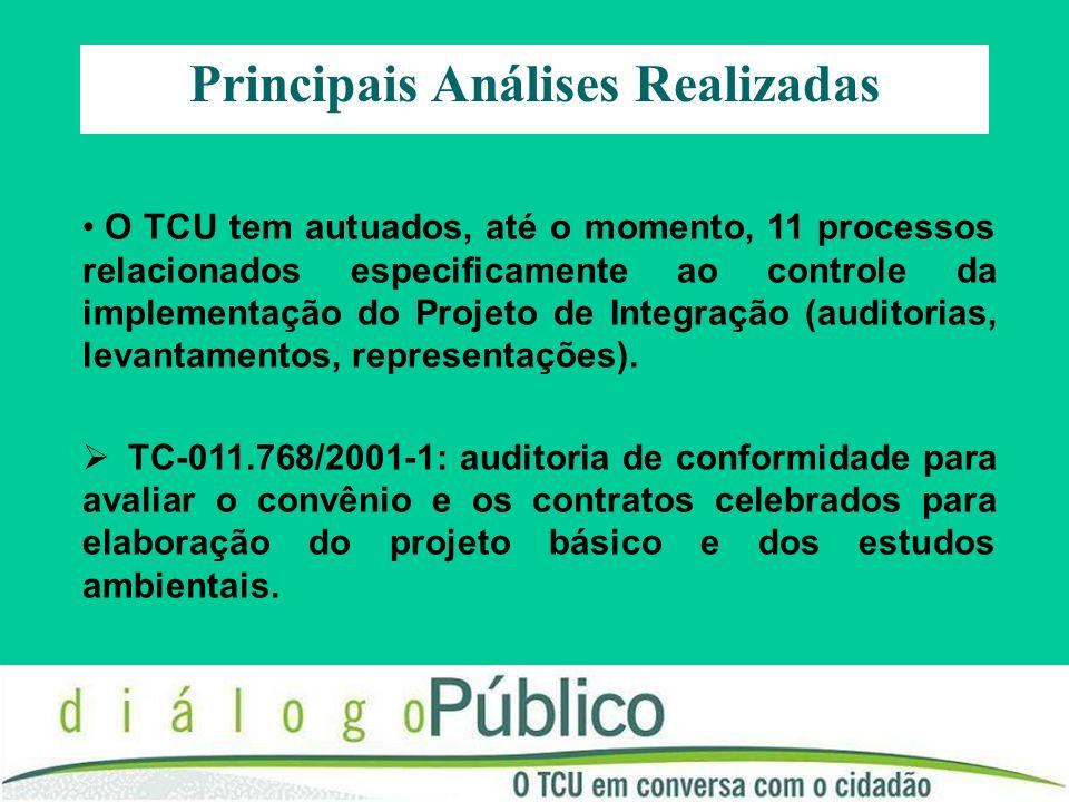 Principais Análises Realizadas O TCU tem autuados, até o momento, 11 processos relacionados especificamente ao controle da implementação do Projeto de Integração (auditorias, levantamentos, representações).