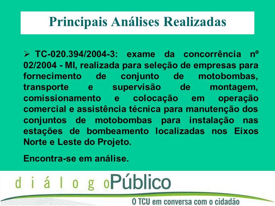 TC-020.394/2004-3: exame da concorrência nº 02/2004 - MI, realizada para seleção de empresas para fornecimento de conjunto de motobombas, transporte e