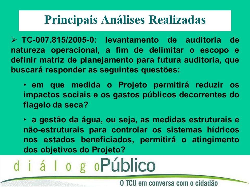 TC-007.815/2005-0: levantamento de auditoria de natureza operacional, a fim de delimitar o escopo e definir matriz de planejamento para futura auditor