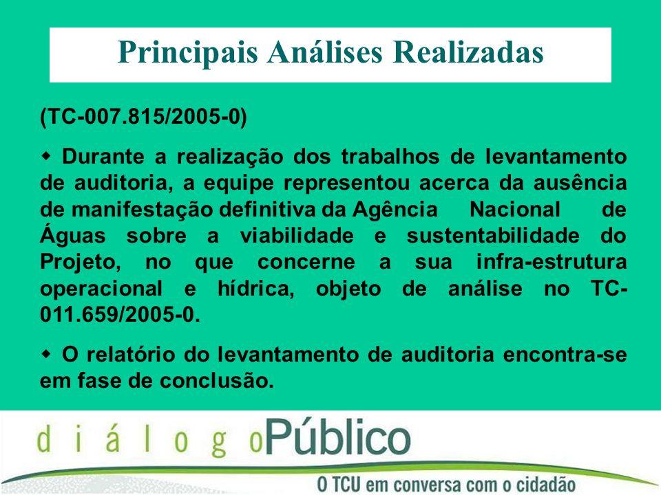 (TC-007.815/2005-0) Durante a realização dos trabalhos de levantamento de auditoria, a equipe representou acerca da ausência de manifestação definitiv
