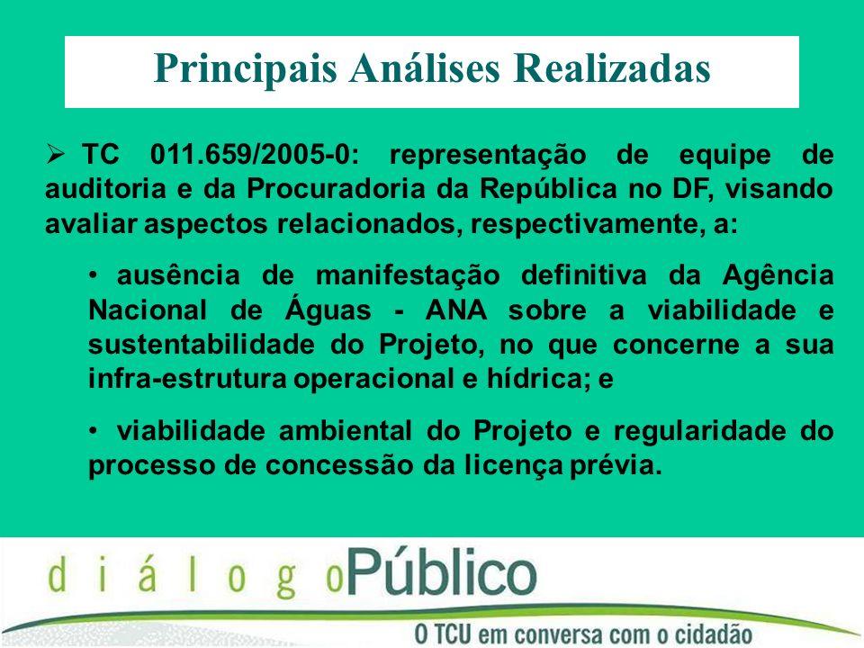 TC 011.659/2005-0: representação de equipe de auditoria e da Procuradoria da República no DF, visando avaliar aspectos relacionados, respectivamente,