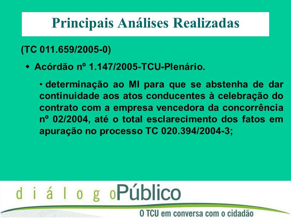 (TC 011.659/2005-0) Acórdão nº 1.147/2005-TCU-Plenário. determinação ao MI para que se abstenha de dar continuidade aos atos conducentes à celebração