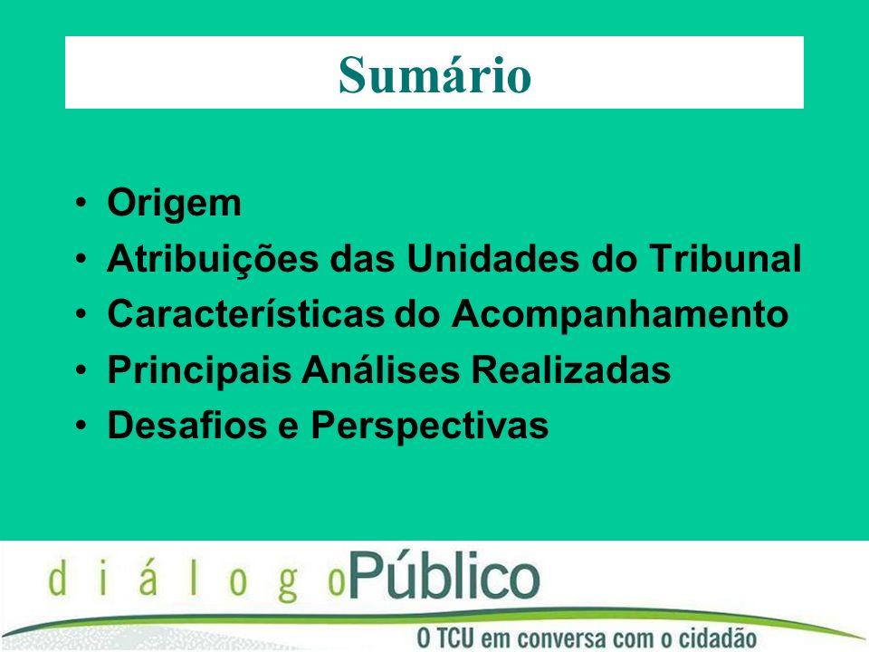 Sumário Origem Atribuições das Unidades do Tribunal Características do Acompanhamento Principais Análises Realizadas Desafios e Perspectivas