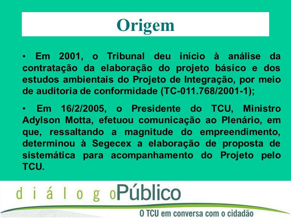 Origem Em 2001, o Tribunal deu início à análise da contratação da elaboração do projeto básico e dos estudos ambientais do Projeto de Integração, por meio de auditoria de conformidade (TC-011.768/2001-1); Em 16/2/2005, o Presidente do TCU, Ministro Adylson Motta, efetuou comunicação ao Plenário, em que, ressaltando a magnitude do empreendimento, determinou à Segecex a elaboração de proposta de sistemática para acompanhamento do Projeto pelo TCU.