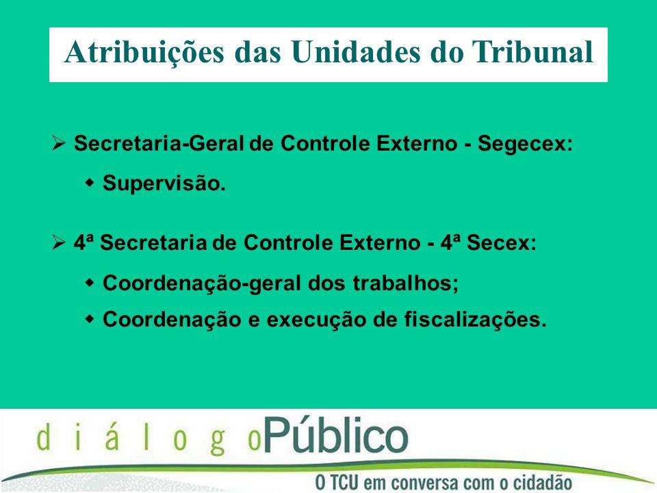 Atribuições das Unidades do Tribunal Secretaria de Fiscalização de Obras e Patrimônio da União - Secob e Secretaria de Fiscalização e Avaliação de Programas de Governo - Seprog: Coordenação e execução de fiscalizações.