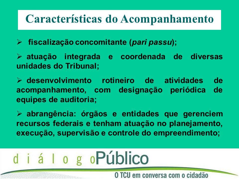 Características do Acompanhamento fiscalização concomitante (pari passu); atuação integrada e coordenada de diversas unidades do Tribunal; desenvolvim