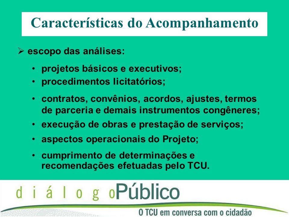 Características do Acompanhamento escopo das análises: projetos básicos e executivos; procedimentos licitatórios; contratos, convênios, acordos, ajust