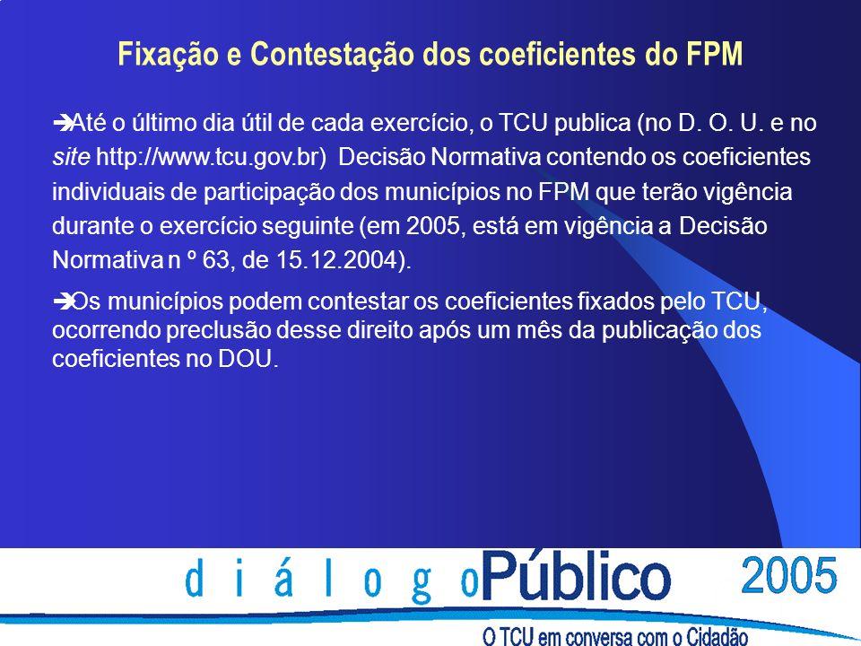 Fixação e Contestação dos coeficientes do FPM è Até o último dia útil de cada exercício, o TCU publica (no D. O. U. e no site http://www.tcu.gov.br) D
