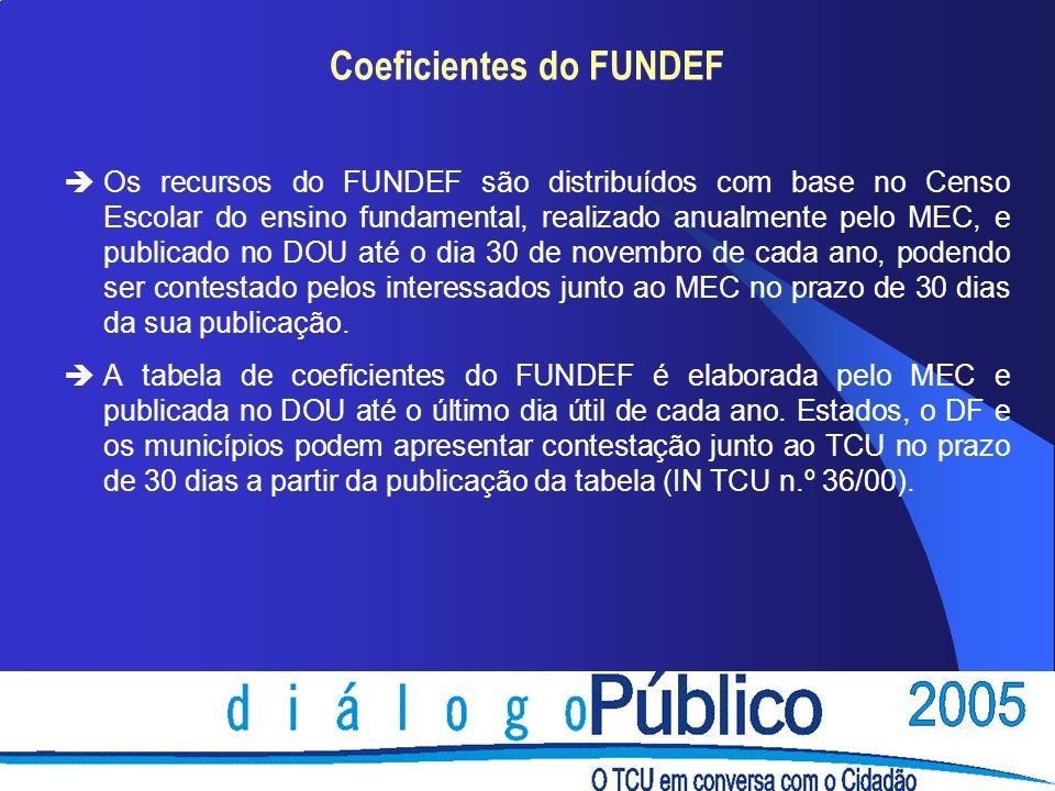 Coeficientes do FUNDEF èOs recursos do FUNDEF são distribuídos com base no Censo Escolar do ensino fundamental, realizado anualmente pelo MEC, e publi