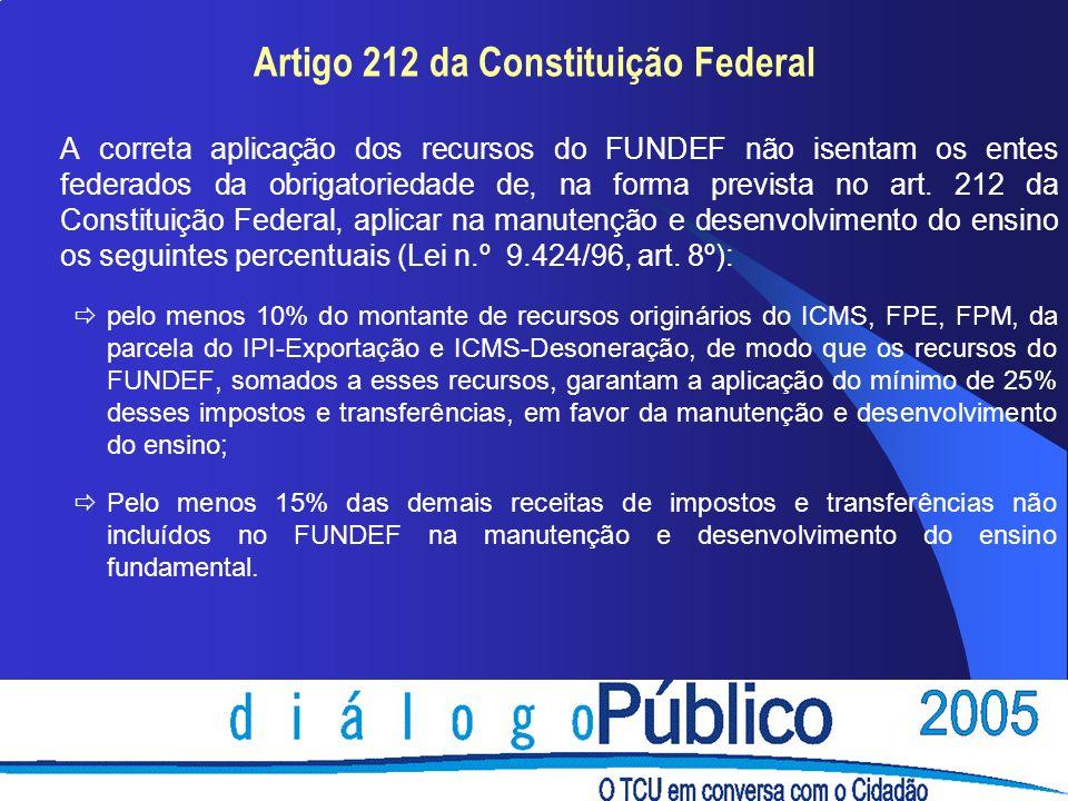 Artigo 212 da Constituição Federal A correta aplicação dos recursos do FUNDEF não isentam os entes federados da obrigatoriedade de, na forma prevista