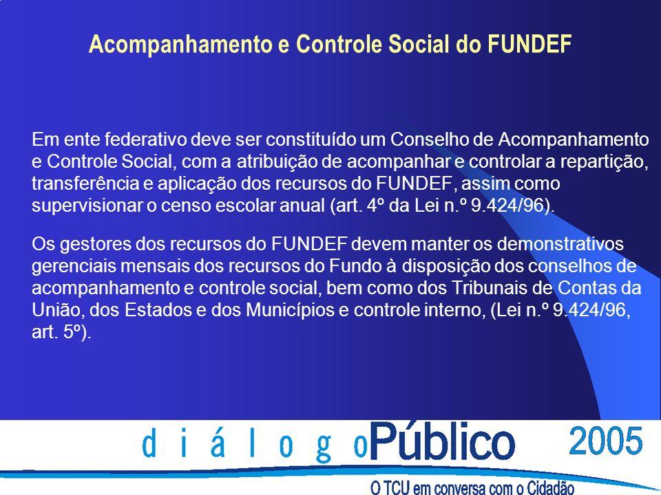 Acompanhamento e Controle Social do FUNDEF Em ente federativo deve ser constituído um Conselho de Acompanhamento e Controle Social, com a atribuição d