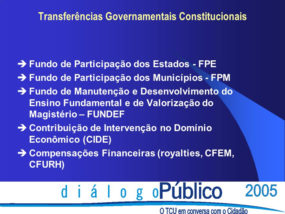 Transferências Governamentais Constitucionais èFundo de Participação dos Estados - FPE èFundo de Participação dos Municípios - FPM èFundo de Manutençã