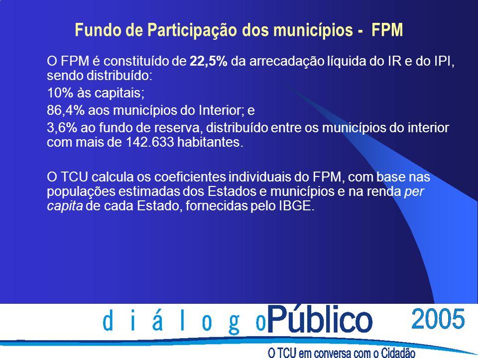 Fundo de Participação dos municípios - FPM O FPM é constituído de 22,5% da arrecadação líquida do IR e do IPI, sendo distribuído: 10% às capitais; 86,